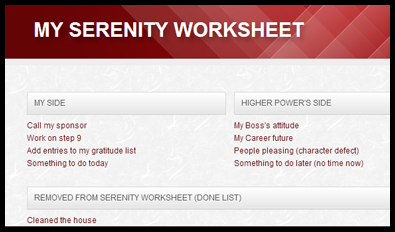 The Serenity Worksheets